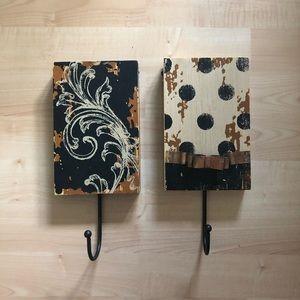 rustic decorative wall hooks - set of 2
